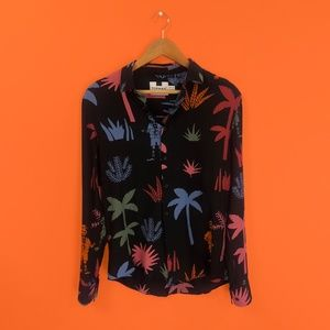 Skeleton Print Button Down Shirt - Topman - EUC